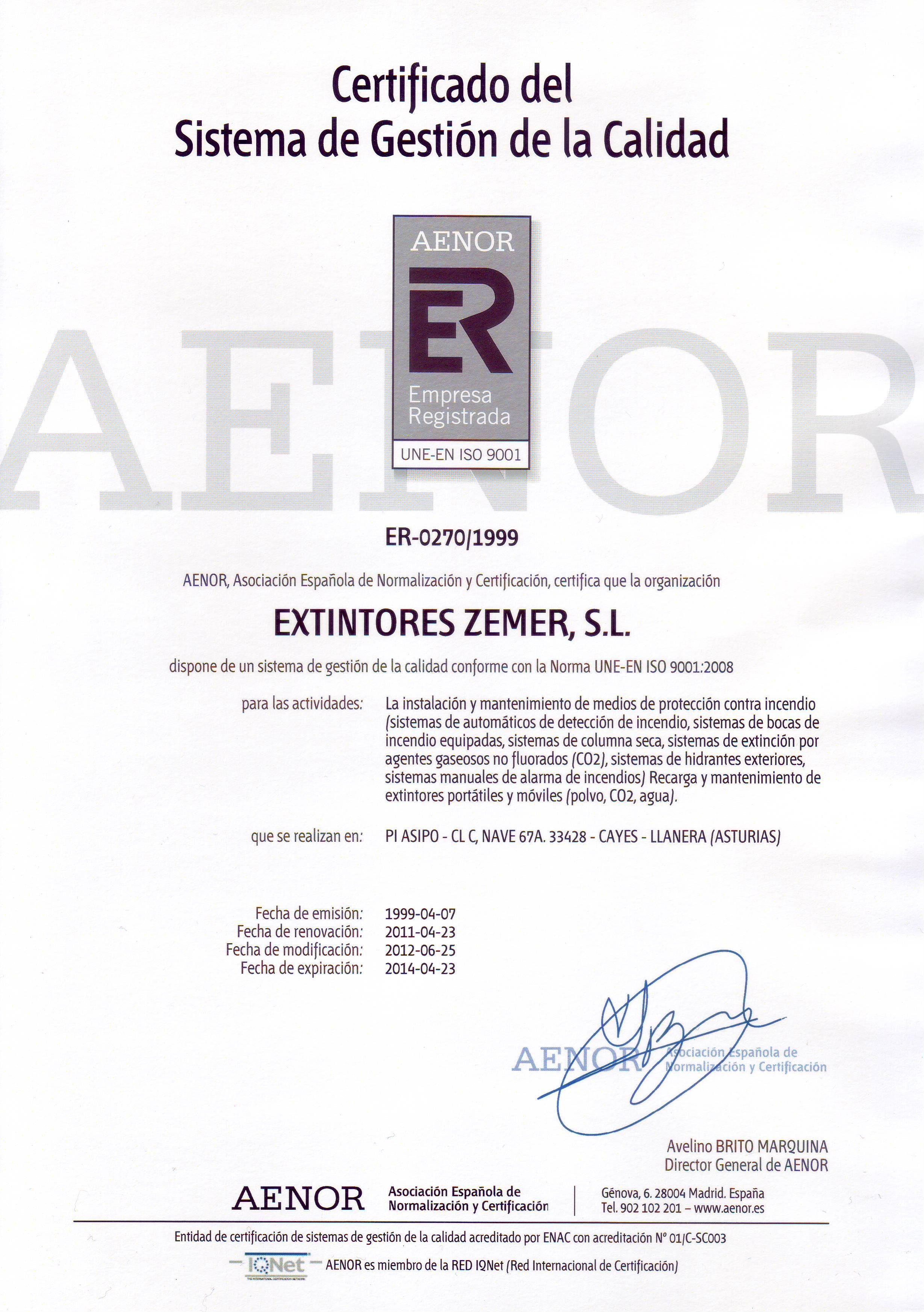 GESTION CALIDAD UNE-EN-ISO 9001.2008 Nº ER-270