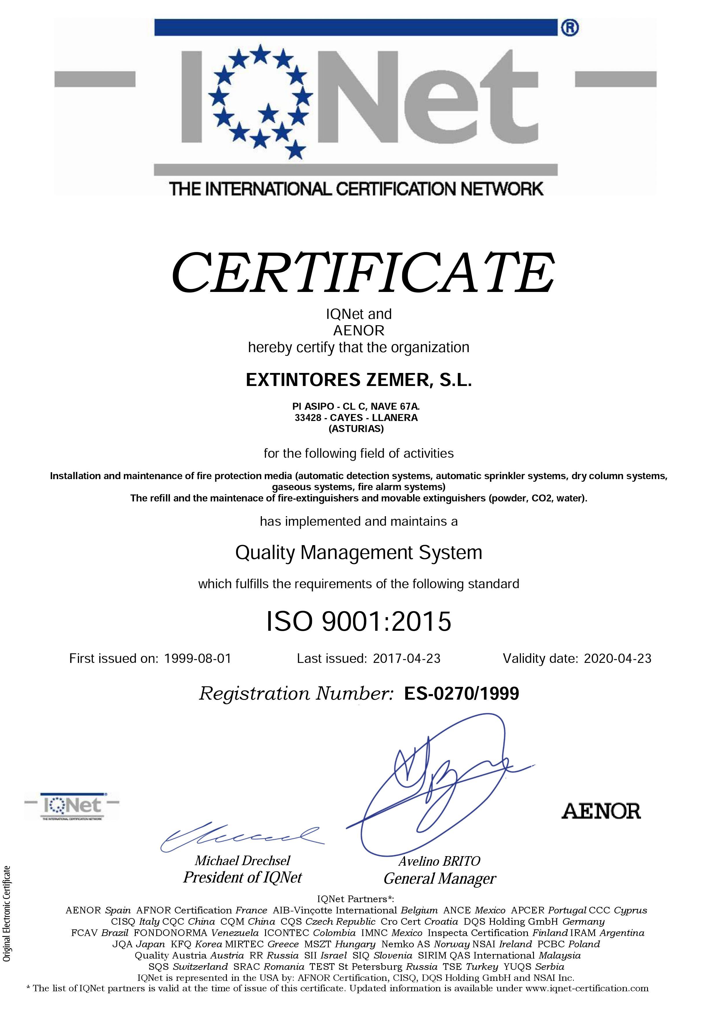 GESTION CALIDAD IQNet y Aenor 9001:2015 Nº ES-0270/1999